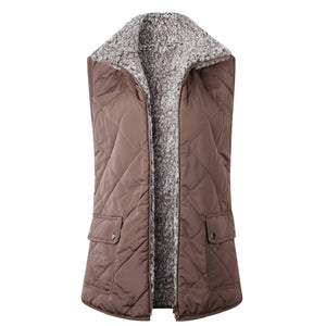 Reversible Faux Fur Lined Sherpa Shearling Vest With Pockets