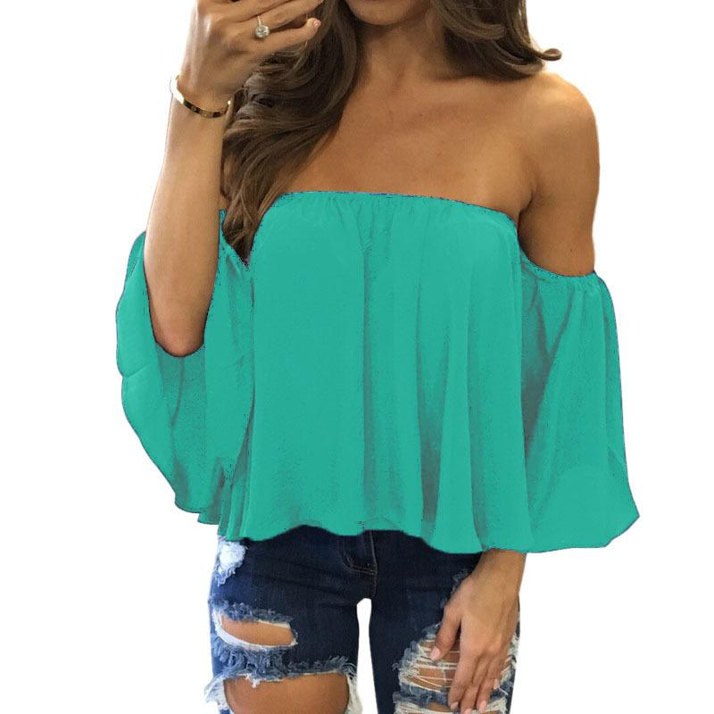 Tummy Hiding Oversized Off The Shoulder Tops Loose Blouse