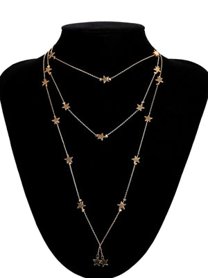 Stars Beaded Multi Layered Chocker Necklace Gold