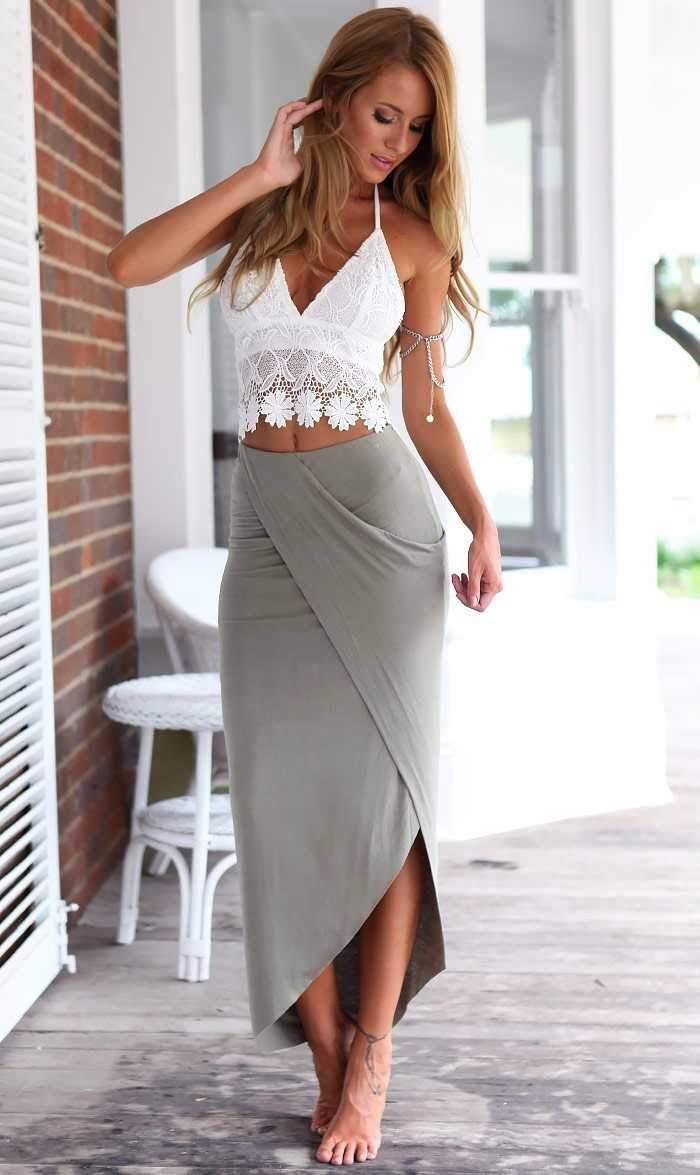 Bohemian Crop Top Dress Two Pieces Skirt High Waisted