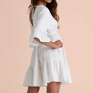 Deep V Back White Lantern Sleeve Frill Dress With Ruffles At Bottom