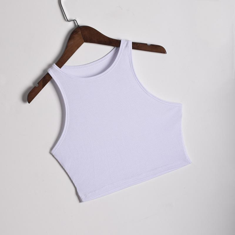 Elastic Ribbed High Neck Tank Crop Top Workout