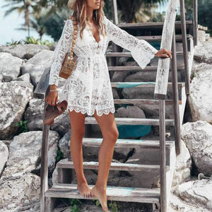 Handmade Beach Wedding Dress White Sheer Mesh Lace Beach Cover Up Dress