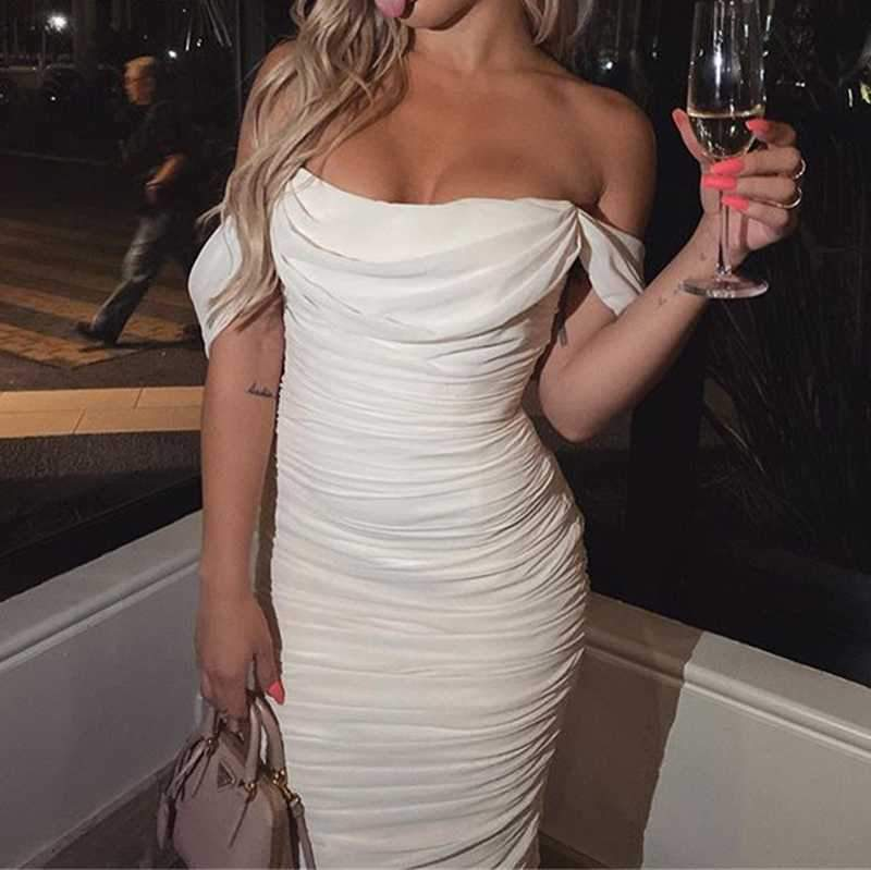 Chiffon Draped Sleeve Off Shoulder Ruched Midi Dress
