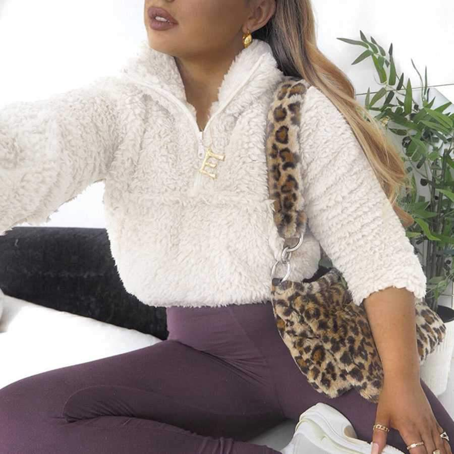 Polo Cropped Faux Fur Jacket Shearling Sweatshirt Pullover With Pocket