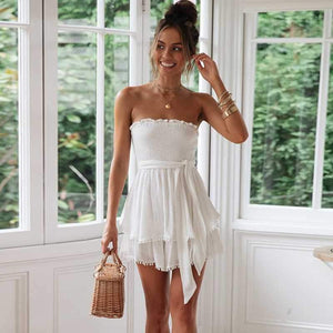 Tie Waist Smocked Pompom Trimed Layered Strapless Romper Shorts Bandeau Playsuits