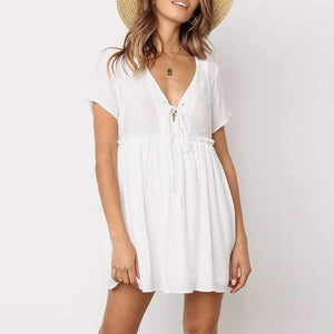 Stomach Hide Casual Deep Plunge Front Tie Shift Swing Dress