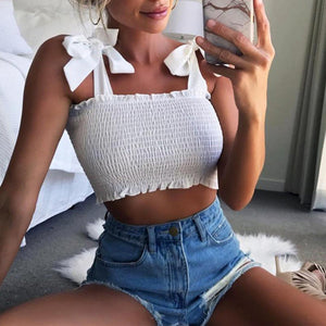 Curved Hem Trimmed Scrunch Tie Up Shoulder Ruched Crop Top Tanks