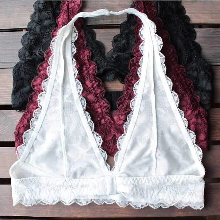 Boho Crochet Neckline Lace Halter Backless Bralette Padded
