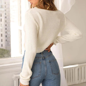Oversized Knit Twist Knot Cute Crop Top Sweaters For Fall