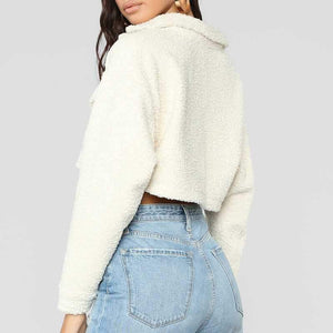Thick White Short Teddy Faux Fur Cropped Jacket Winter Coats