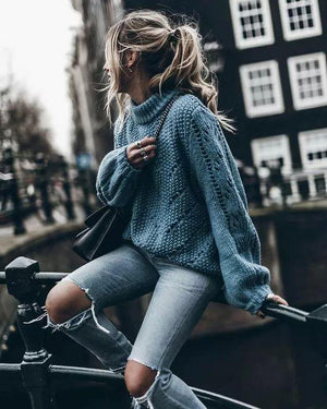 Boho French Elegant Oversized Turtleneck Sweater