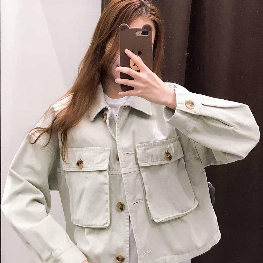 Oversized Boyfriend Cool Big Pockets Cargo Jacket Button Up Coat Womens