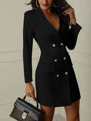 Double Breasted Business Work Dress Womens Button Blazer Dress
