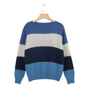 Oversized Comfy Color Block Striped Fall Pullover Sweaters For women