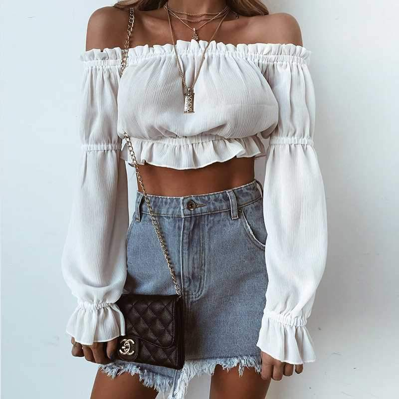 Lantern Long Sleeve Ruffle Off The Shoulder Chiffon Crop Top Blouse