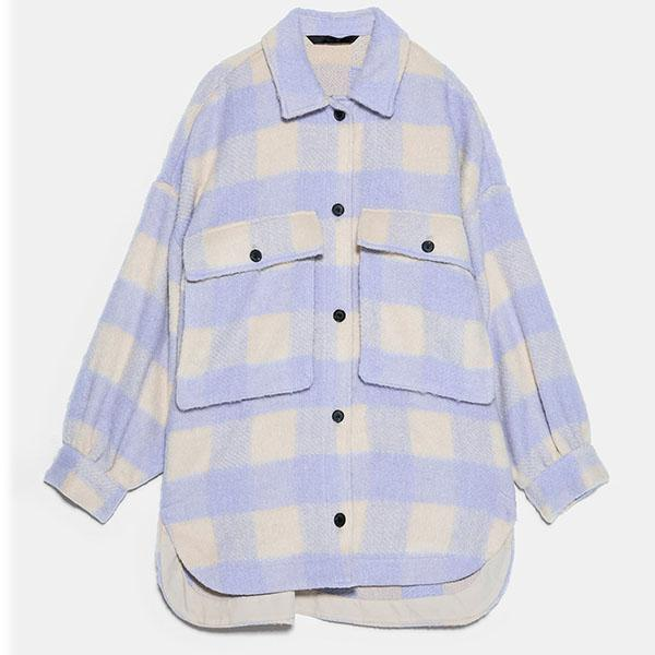 Checked Collared Overshirt Patch Pocket Wool Blend Tweed Jacket