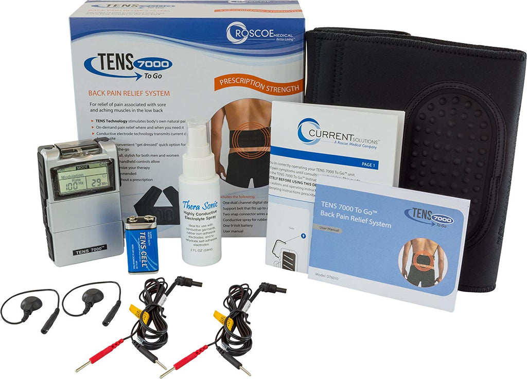 TENS 7000 To Go 2nd Edition Back Pain Relief System With Conductive Back Brace