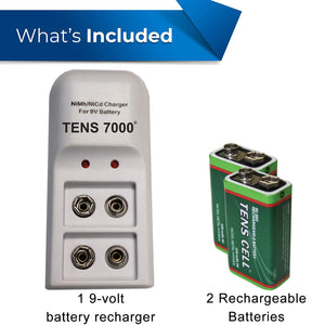 TENS 7000 Official Rechargeable 9v Batteries Kit - TENS 7000