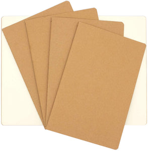 4 Blank Page Notebook Journals for Travelers - Kraft Brown Soft Cover - A5 Size - 210 mm x 140 mm