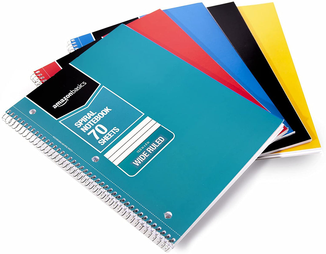 Wide Ruled Wirebound Spiral Notebook, 70 Sheets, Assorted Solid Colors