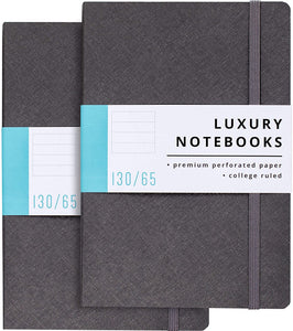 2 Pack Luxury Lined Journal Notebooks- Journals For Writing w/ 130 Perforated Pages, Medium (5.7