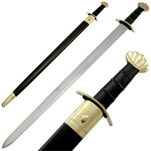 Viking Battle Ready Sword and Scabbard Set - Gold