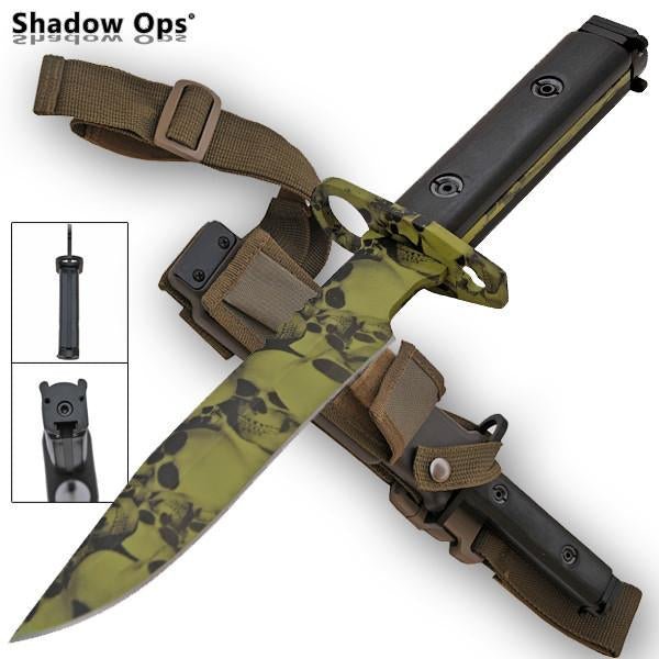 Heavy Duty Shadow Ops Bayonet Undead Skull - Drop Point