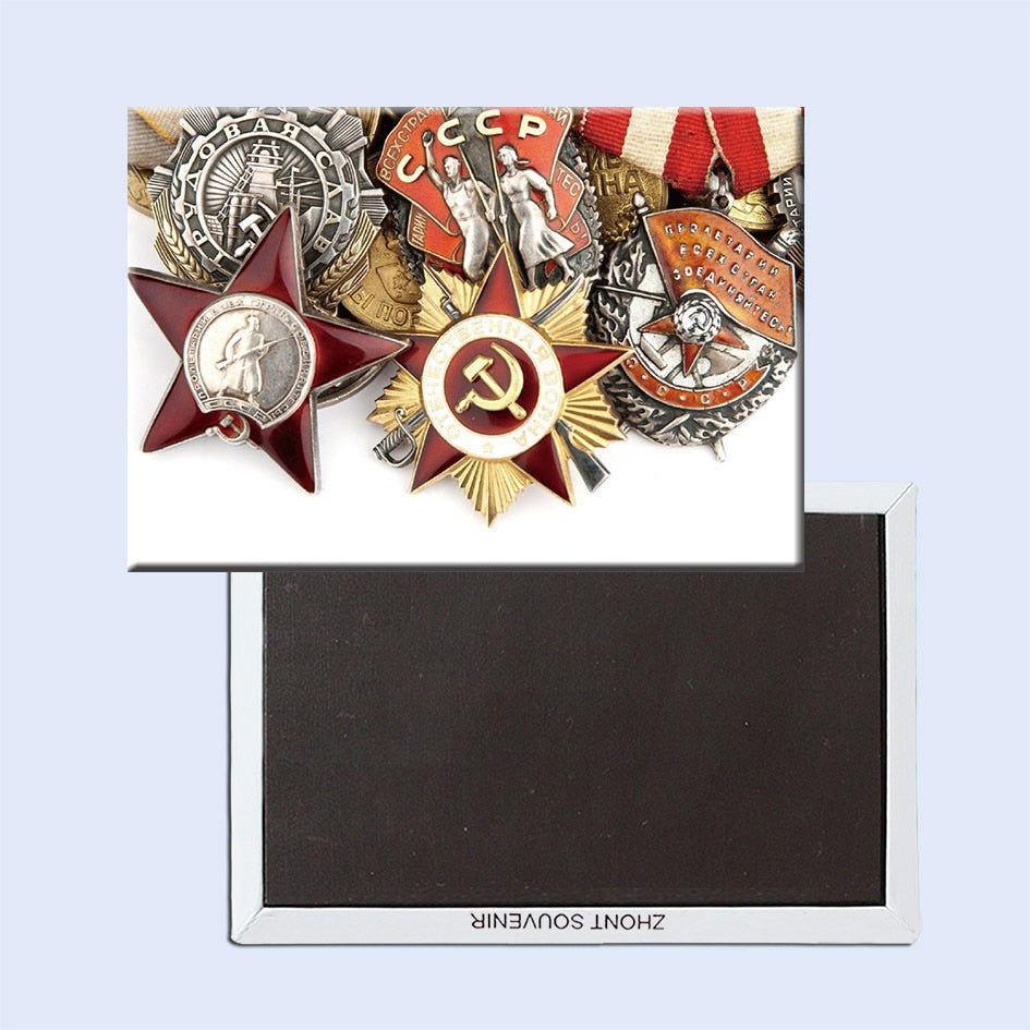 Tourist Magnets  78*54mm Russian Military Badge Fridge Magnets 20196 Memorabilia