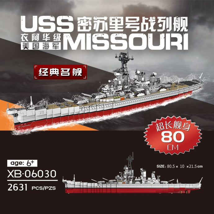 XINGBAO 06030 2631pcs Military Missouri Battleship Set Building Blocks Bricks New Kid Toys Christmas Gifts Ship Model Legaoing
