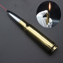 Load image into Gallery viewer, Creative Metal Bullet Lighter With Laser Light Butane Gas Windproof Flame  Cigarette Lighters Novelty Gadget Military Addictive