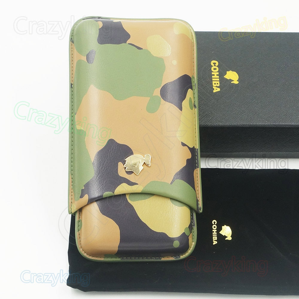 New Cohiba Camouflage Cowhide Leather Holder 3 Tube Travel Cigar Case Humidor