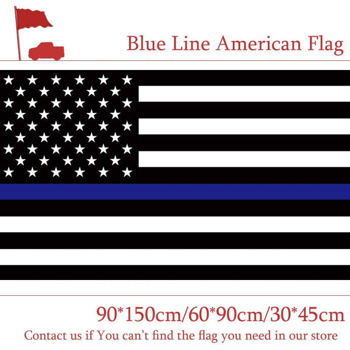 Free shipping 90*150cm 60*90cm Blue Line Stripes American Flags 2 Grommets For Police Cops Flags Black, White Blue Flying Flags