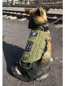 HANWILD New Tactical Service Dog Vest Training Hunting Molle Nylon Water-resistant Military Patrol Adjustable Dog Harness Handl