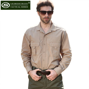 Seibertron Long Sleeve Lightweight Tactical Men Shirt Outdoor Sport Cotton Hiking Shirt Full Man Quick Dry Clothing