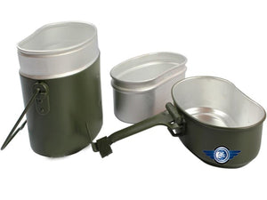 Free shipping Army Soldier Military Outdoor Camping  Mess Kit Lunch Protable Dinner Box Canteen Kettle Pot Bowl
