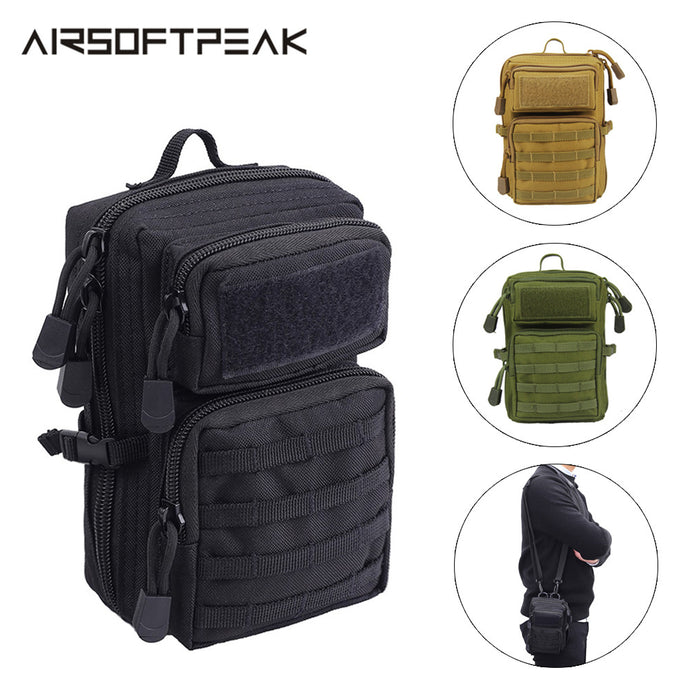 AIRSOFTPEAK Tactical Shoulder Bag 600D Nylon Military Molle Pouch EDC Utility Accessory Pack Backpack Hunting Fanny Pack Combat