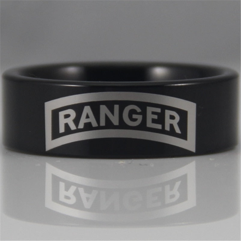 YGK YGK JEWELRY 8MM Black Pipe Army Ranger Design New Men's Tungsten Comfort Fit Ring