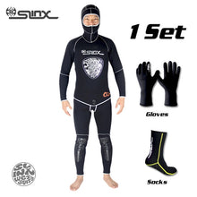 Load image into Gallery viewer, SLINX 5mm Neoprene Scuba Diving Spear Fishing Fishermen Snorkeling Wetsuit Winter Warm Two-Piece Suit with 3mm Gloves Socks Set