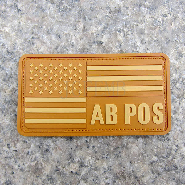 tan background tan design American flag Blood Type AB POS Military Tactical Morale 3D PVC patch Badges PB322
