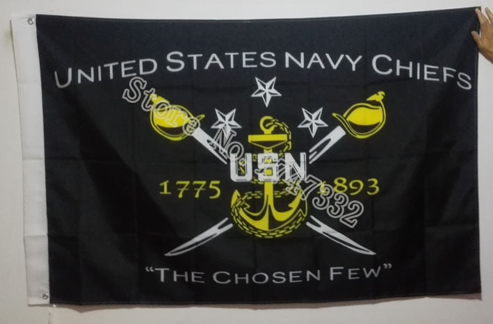 US Navy Chiefs Flag hot sell goods 3X5FT 150X90CM Banner brass metal holes