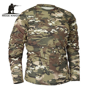 Mege Brand Clothing New Autumn Spring Men Long Sleeve Tactical Camouflage T-shirt camisa masculina Quick Dry Military Army shirt