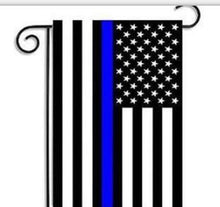 Load image into Gallery viewer, aerlxemrbrae  45cmx30cm Thin Blue Line garden  Flag Police Cops Law Enforcement  Polyester Garden  Banner