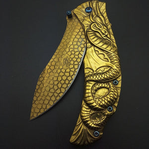 Gold Fly Dragon Tactical knife Wilderness survival tools All steel Outdoor knives Hiking Camping Hunting knives blade nice work