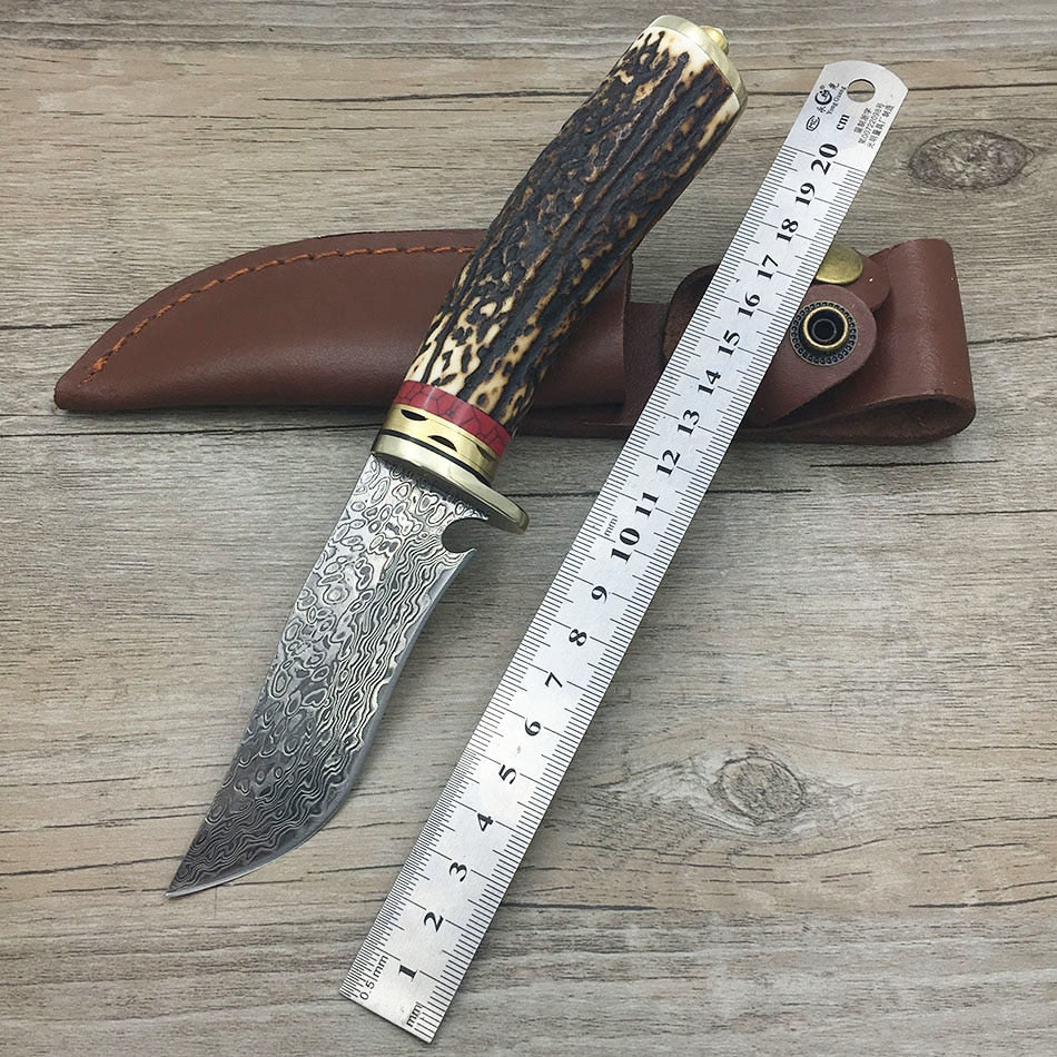 damascus steel knife blade hunting knife Antlers horn handle handmade damascus forged steel knife gift knife