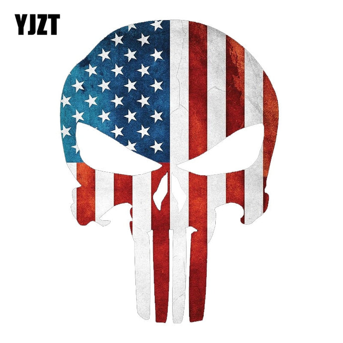 YJZT 9.5CMX13CM PUNISHER SKULL American Flag Military Car Sticker Decal C1-6003