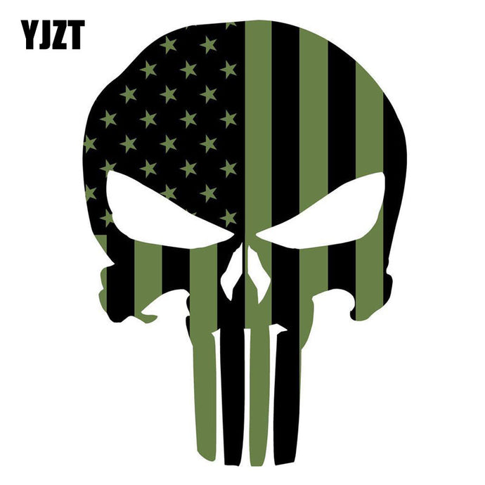 YJZT 10.2CMX14CM Punisher Skull American Flag OD GREEN Military Reflective Car Sticker C1-6018