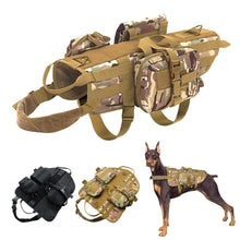 Load image into Gallery viewer, Tactical Dog Training Molle Vest Harness Pet Vest with Detachable Pouches Military K9 Harness for Medium Large Dogs Coyote Brown