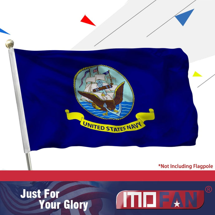 MOFAN US Navy Flag- Canvas Header and Double Stitched - US Military Flags Polyester with 2 Brass Grommets 3x5 ft Indoor/Outdoor