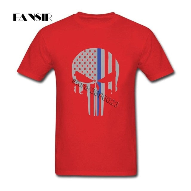 Military Skull Tactical Flag Tee Shirt Amazing Men T Shirts Short Sleeve 100% Cotton O Neck T Shirt For Adult
